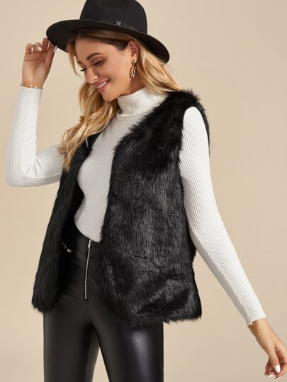 Open Front Faux Fur Vest Coat