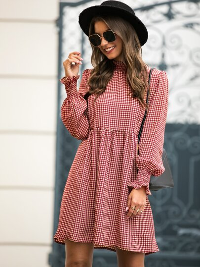 Fill Trim Houndstooth Smock Dress