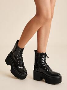 Lace-up Lug Sole Chunky Boots