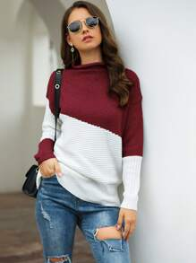 Contrast Panel Stand Collar Sweater