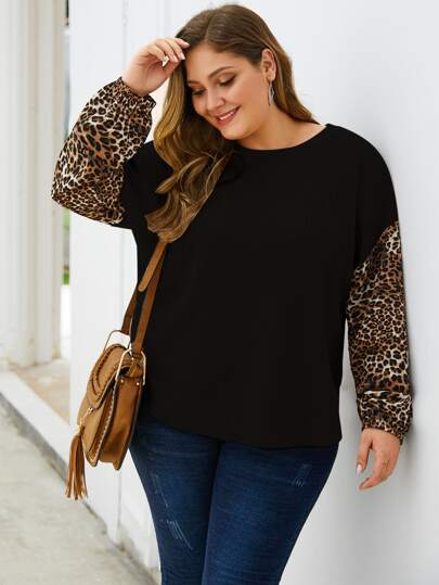 Plus Leopard Print Sleeve Waffle Knit Sweater