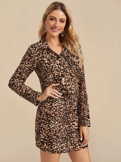 Leopard Print Trucker Jacket & Skirt