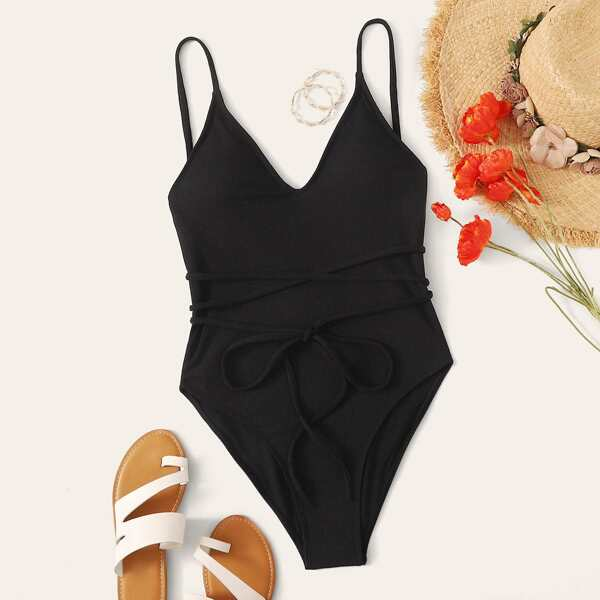 Rib Tie Front One Piece Swimwear, Black