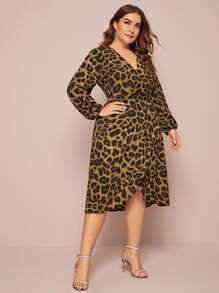 plus allover print surplice neck a-line dress