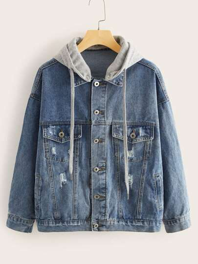 Button Through Drawstring Hooded Denim Jacket