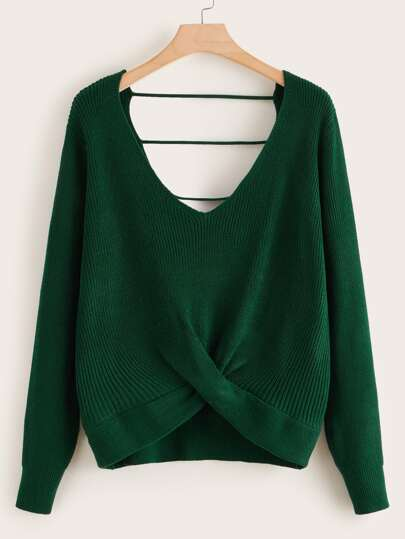 Plus V-neck Twist Front Sweater