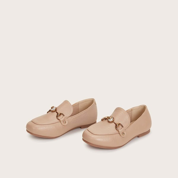 Toddler Girls Faux Pearl Decor Flat Loafers, Beige