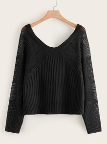 Plus V-neck Pointelle Knit Sweater