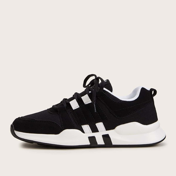 Men Lace-up Front Knit Trainers, Black