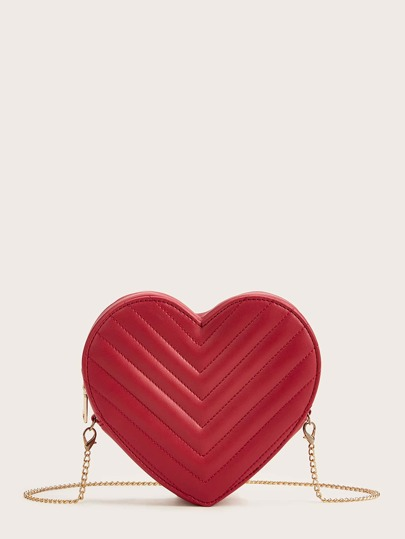 Heart Shaped New Year Chevron Crossbody Bag