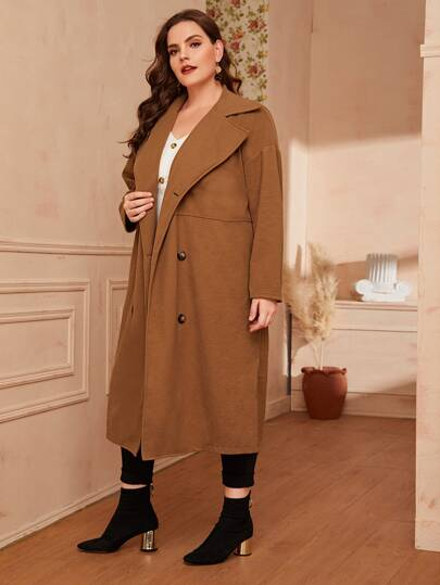 Plus Solid Suede Double Breasted Coat