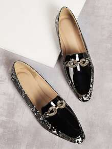 Snakeskin Patent Flat Loafers