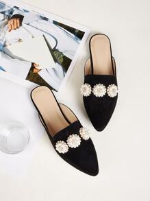 Faux Pearl Decor Loafers Mules