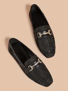 Horse Bite Decor Tweed Loafers