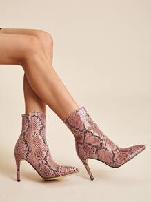 Point Toe Snakeskin Side Zip Boots