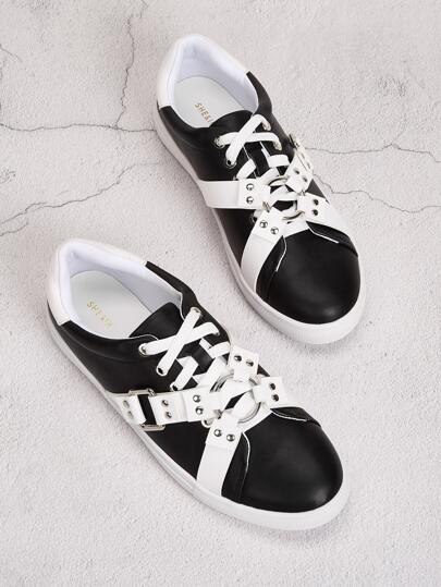 Studded Decor Lace-up Front Sneakers