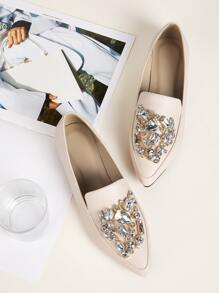 Jewelled Decor Point Toe Loafers