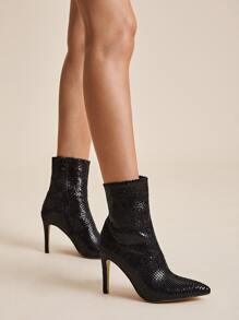 Patent Snakeskin Side Zip Stiletto Boots