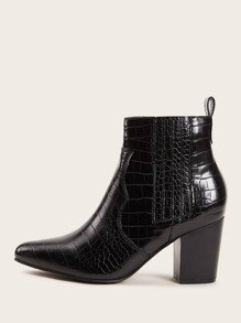 Point Toe Croc Embossed Western Boots