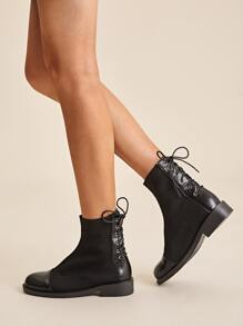 Lace-up Back Knit Panel Boots
