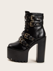 Platform Buckle Decor Chunky Heeled Boots