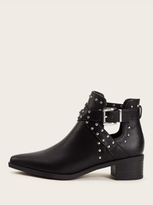 Studded Decor Buckle Strap Ankle Boots
