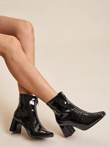 Point Toe Zip Front Chunky Boots