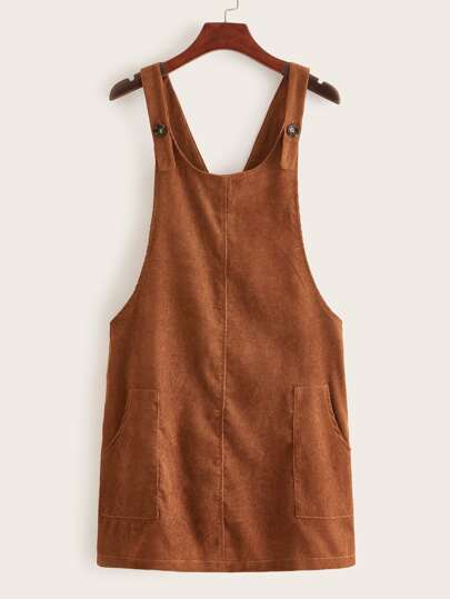 Dual Pockets Corduroy Overall Dress