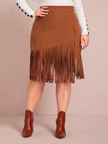 Plus Fringe Trim Suede Surplice Skirt