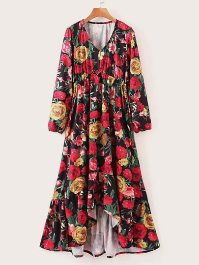 Floral Print Asymmetrical Hem A Line Dress