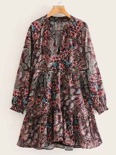 Paisley Print Notched Knot Ruffle Hem Dress