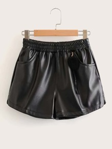 Elastic Waist Pocket Side PU Leather Short