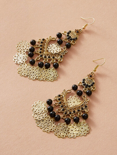 1pair Bead Decor Tribal Tassel Drop Earrings