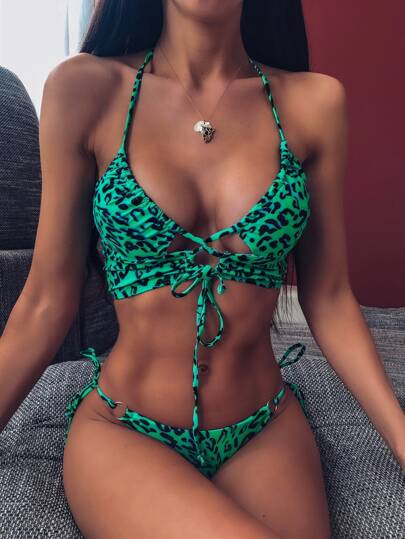Leopard Drawstring Tie Side Bikini Swimsuit