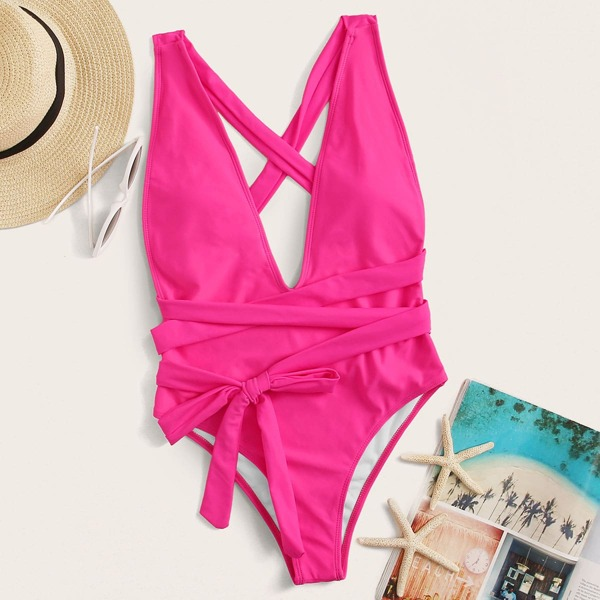 Tie Front One Piece Swimwear, Pink bright