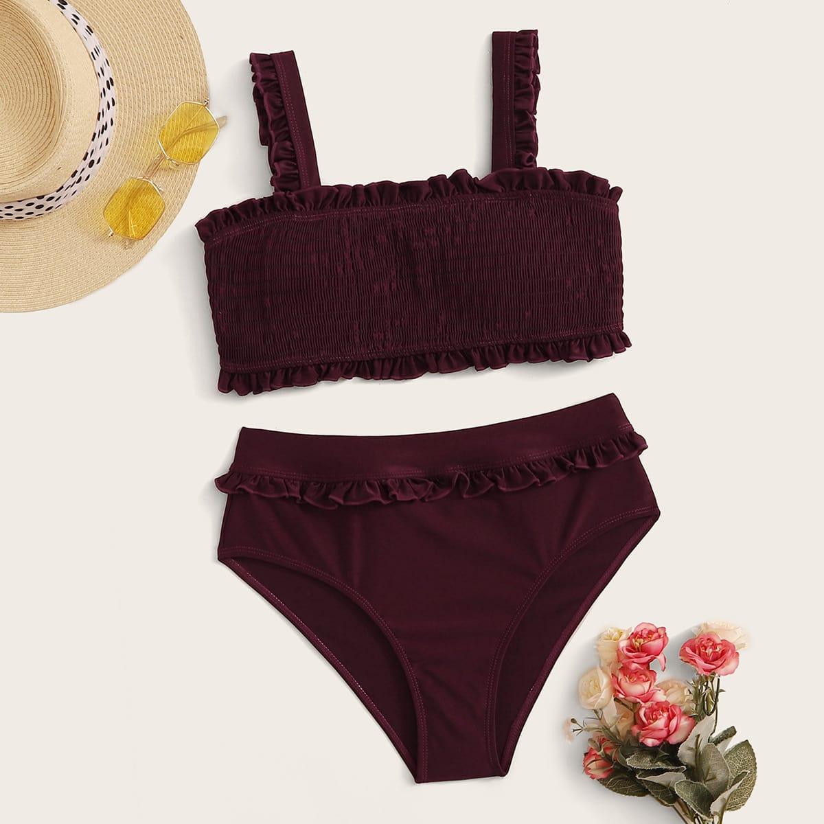 Top mit Falten und Bikini Set mit hoher Taille