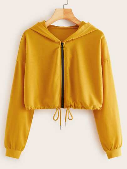Yellow Zip-up Drawstring Hem Crop Hoodie