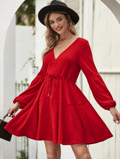 Solid Surplice Front Drawstring Waist Sweater Dress