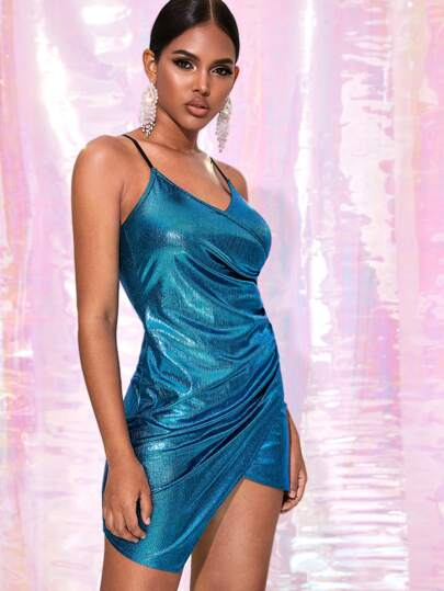 Metallic Ruched Wrap Cami Dress