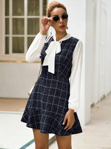 Contrast Panel Tie Neck Plaid A-line Dress