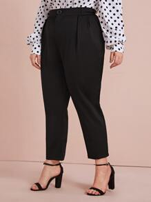 Plus Button Fly Crop Carrot Pants