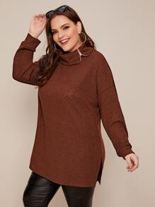 Plus High Neck Drop Shoulder Sweater