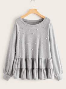 Pearls Beaded Ruffle Hem Tee