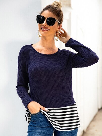 Contrast Striped Panel Long Sleeve Tee
