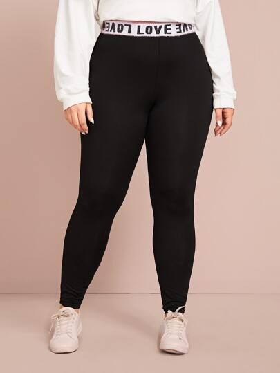 Plus Letter Tape Waistband Leggings