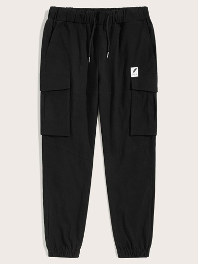 Guys Patched Detail Drawstring Waist Cargo Pants