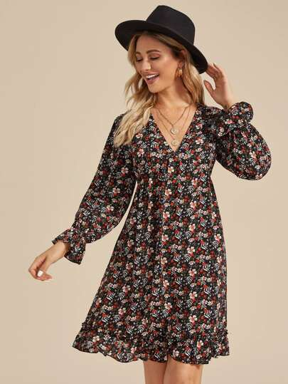 Floral Print Flounce Sleeve A-line Dress