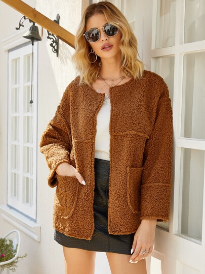 Dual Pocket Drop Shoulder Teddy Coat