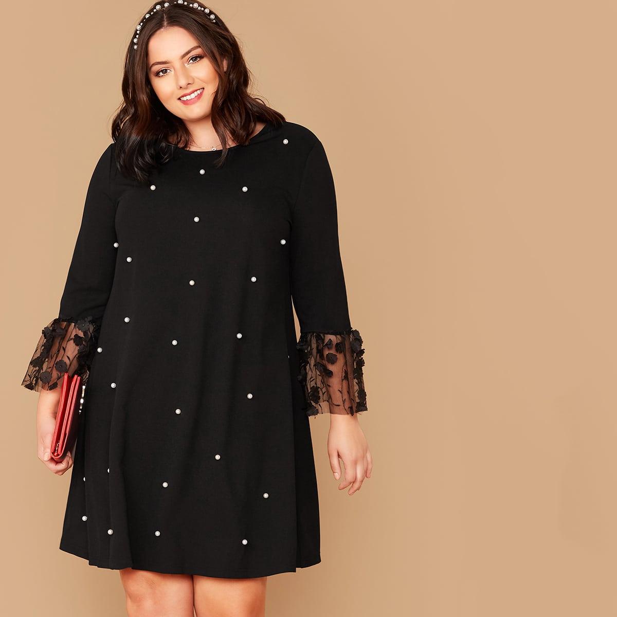 Платье размера плюс с жемчугом и аппликацией