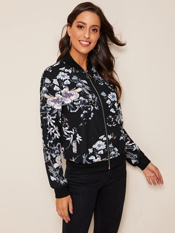 SHEIN Zip Up Floral Print Bomber Jacket